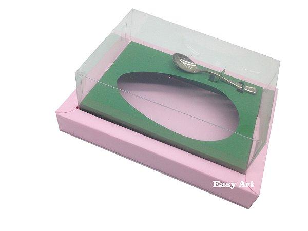 Caixa para Ovos de Colher 500g Rosa Claro / Verde Bandeira