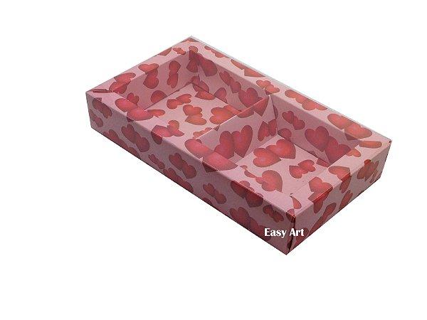 Caixa para 02 ou 03 Sabonetes / Rosa Corações Vermelhos