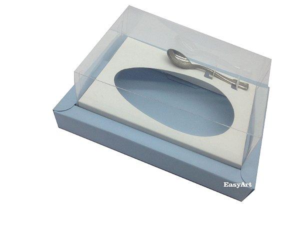 Caixa para Ovos de Colher 350g - Azul Claro / Branco