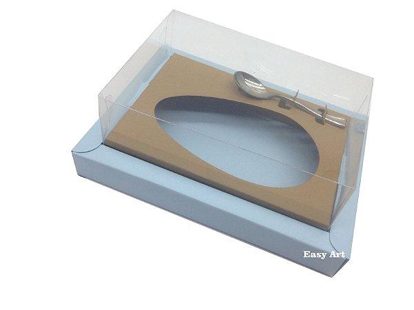 Caixa para Ovos de Colher 350g - Azul Claro/ Marrom Claro