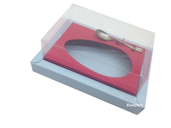 Caixa para Ovos de Colher 350g - Azul Claro / Vermelho