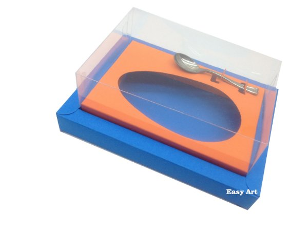 Caixa para Ovos de Colher 350g Azul Turquesa / Laranja