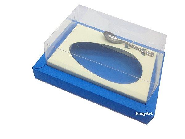 Caixa para Ovos de Colher 350g Azul Turquesa / Marfim