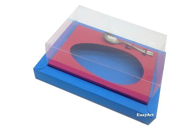 Caixa para Ovos de Colher 350g Azul Turquesa / Vermelho