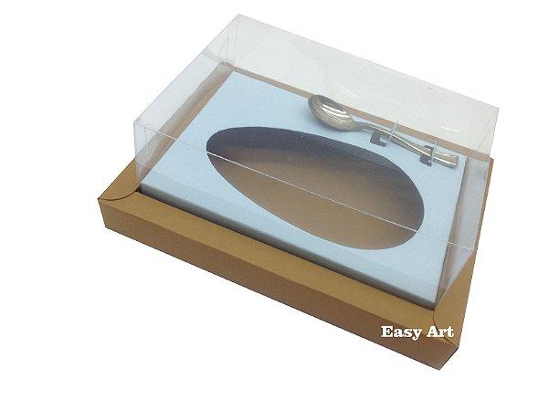 Caixa para Ovos de Colher 350g Marrom Claro / Azul Claro
