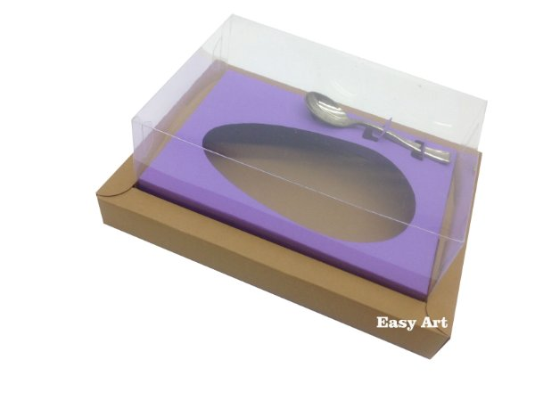 Caixa para Ovos de Colher 350g Marrom Claro / Lilás