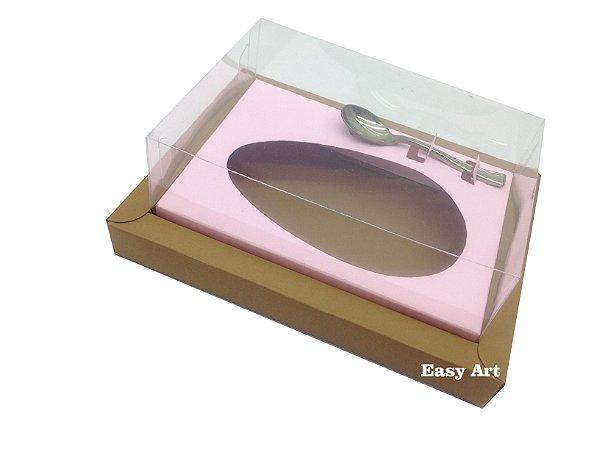 Caixa para Ovos de Colher 350g Marrom Claro / Rosa Claro