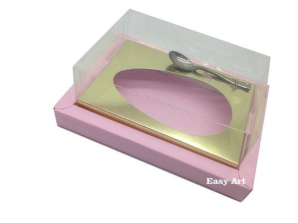 Caixa para Ovos de Colher 350g Rosa Claro / Dourado