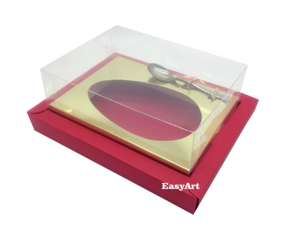Caixa para Ovos de Colher 350g Vermelho / Dourado