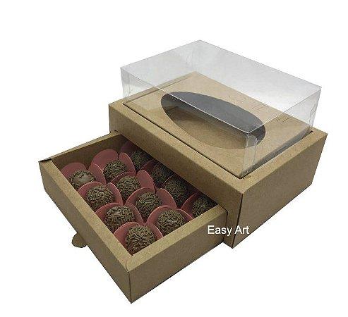 Caixa Ovo de Colher 250g - Gaveta para 12 Bombons / Kraft