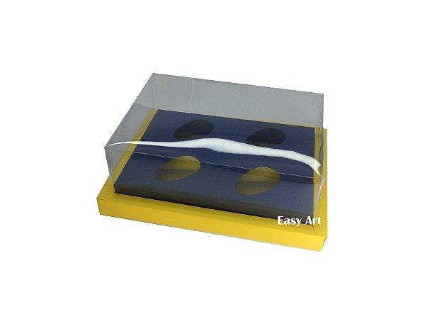 Caixa para Ovos de Colher 4X 50g / Amarelo - Azul Marinho