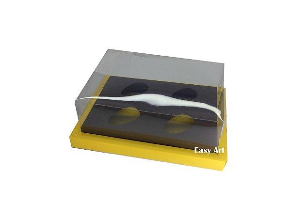 Caixa para Ovos de Colher 4X 50g / Amarelo - Marrom