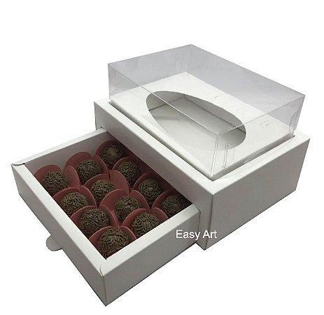 Caixa Ovo de Colher 250g - Gaveta para 12 Bombons / Branco
