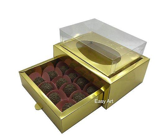 Caixa Ovo de Colher 250g - Gaveta para 12 Bombons / Dourado