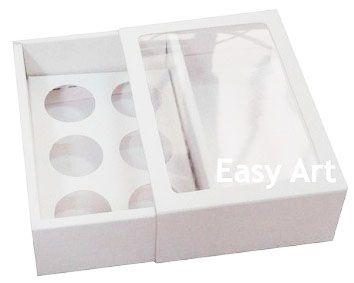 Caixas para 6 Brigadeiros com Visor - Branco