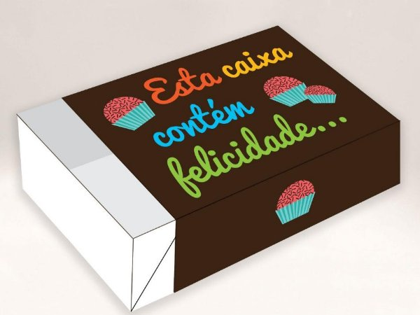 Esta Caixa Contém Felicidade / 06 Brigadeiros - 12x8x3,5