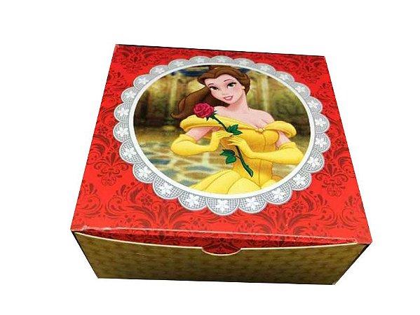 Caixa Princesa Bela /  04 Brigadeiros - 8x8x3,5