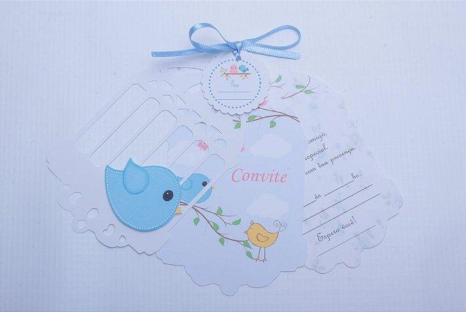 Convite Gaiola Passarinho - Chá de bebê / Aniversário - Menino Pct 10 Unid.
