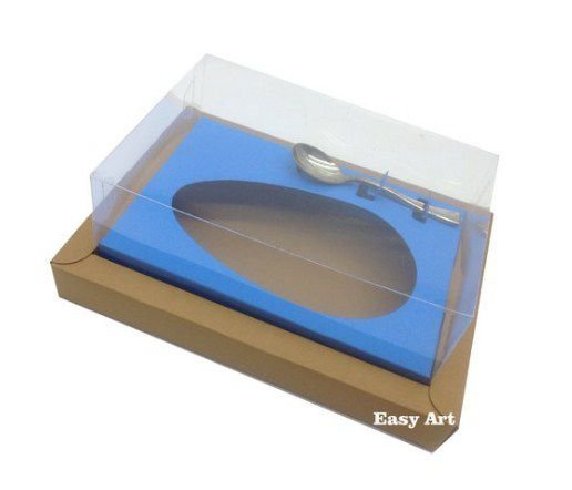Caixa para Ovos de Colher 250g - Kraft / Azul Turquesa