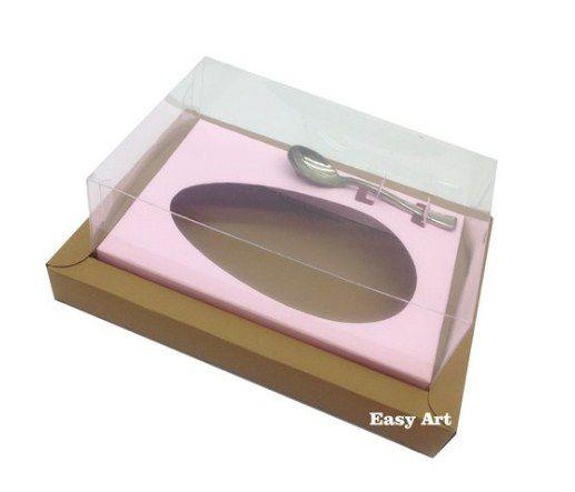 Caixa para Ovos de Colher 500g - Kraft / Rosa Claro