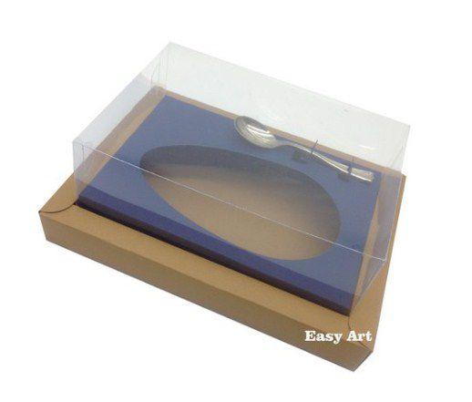 Caixa para Ovos de Colher 350g - Kraft / Azul Marinho