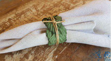 Porta Guardanapos / Flores de Tecido - Folhas - Pct com 24 Unidades