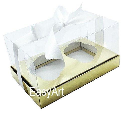 Caixas para 02 Cupcakes - Dourado Brilhante