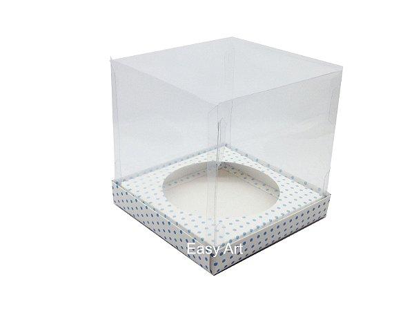 Caixa para Mini Panetones - Branco com Poás Azuis