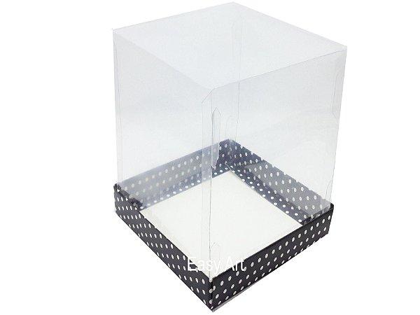 Caixa para Mini Bolo / Panetones - Preto com Poás Brancas