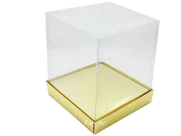 Caixinhas para Mini Bolos / Mini Panetones com Berço - Dourado Brilhante
