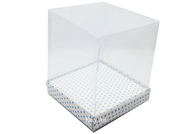 Caixinhas para Mini Bolos / Mini Panetones com Berço - Branco com Poás Azuis