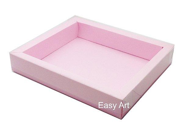 Caixas para 12 Macarons Deitados / Borda Larga - Rosa Claro