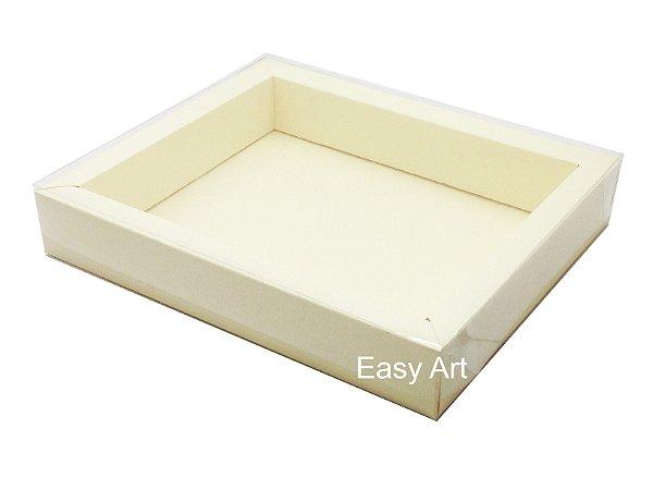 Caixas para 12 Macarons Deitados / Borda Larga - Marfim