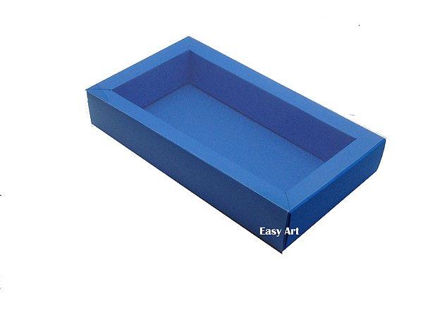 Caixa para 8 Macarons Deitados / Tampa Transparente - Azul Turquesa