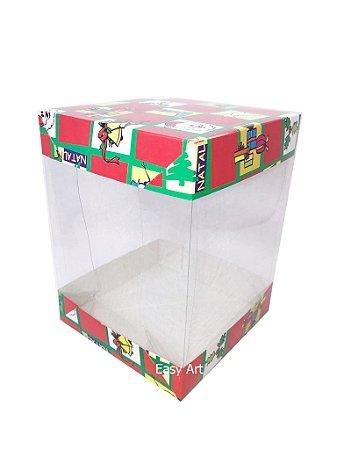 Caixa para Panetones e Mini Bolos / Tampa Dupla - Estampado Natal