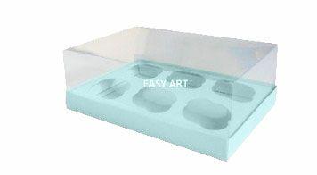 Caixas para 6 Mini Cupcakes - Azul Claro