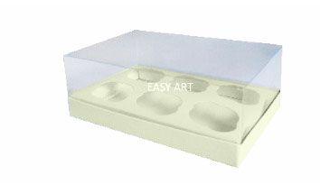 Caixas para 6 Mini Cupcakes - Marfim