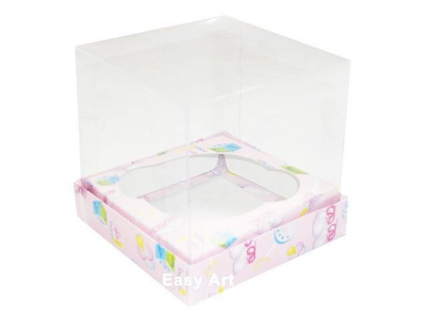 Caixas para 1 Mini Cupcake - Estampado Bebê Rosa