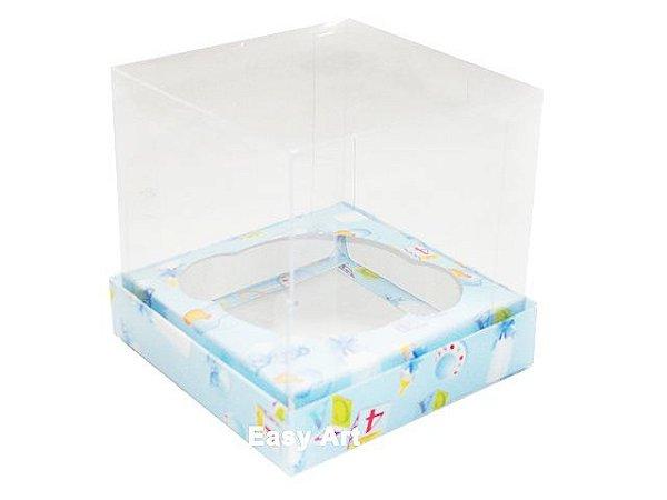 Caixas para 1 Mini Cupcake - Estampado Bebê Azul