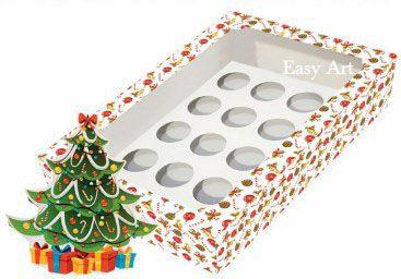 Caixa para 12 Brigadeiros com Visor, Berço e Tag - Árvore de Natal