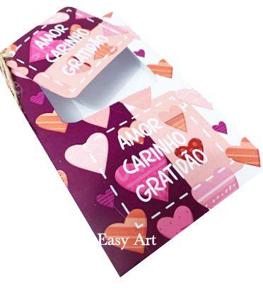 Caixa para Barras de Chocolate de 300g com Tag - Amor Carinho Gratidão