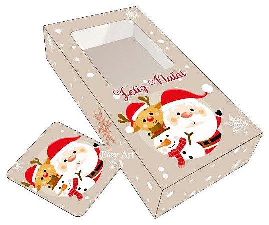 Caixa para Barras de Chocolate de 300g com Tag - Noel e Turminha