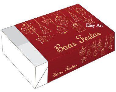Caixa para 6 Brigadeiros - Boas Festas Enfeites Dourados