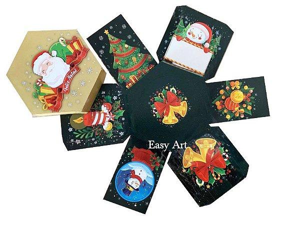 Caixa Explosão para Mini Panetone - Noel Feliz Natal