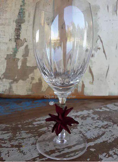Marcadores de Taça Flor em Tecido - Mini Flor de Lis / Pct com 24 Unidades