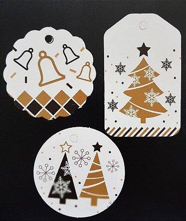 Tags Decorativos - Árvores e Sinos / Pct 30 unidades