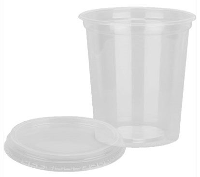 Pote Plástico com Tampa 500 ml -  Pct com 12 unidades