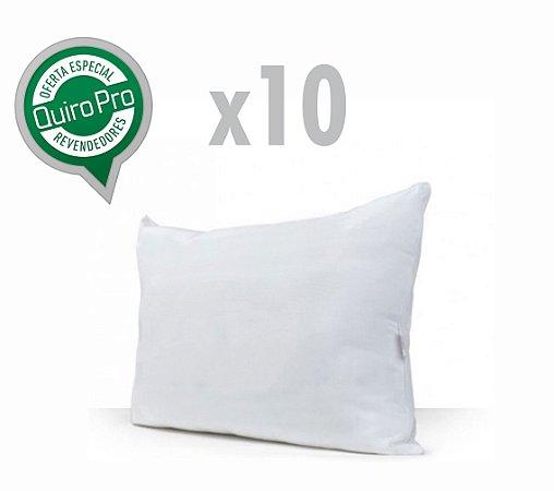 Kit com 10 Unidades de Travesseiros Fibra Siliconizada P/M/G