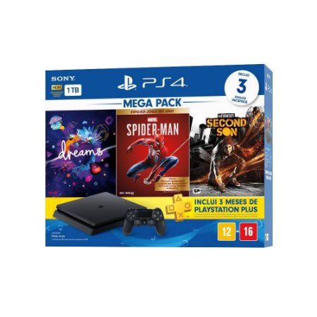 Console Playstation 4 Slim HD 1 Tb + 3 Jogos + Plus Oficial Sony Brasil PS4 Slim