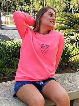 Casaco Moletinho Hawewe Love Boards Rosa Neon